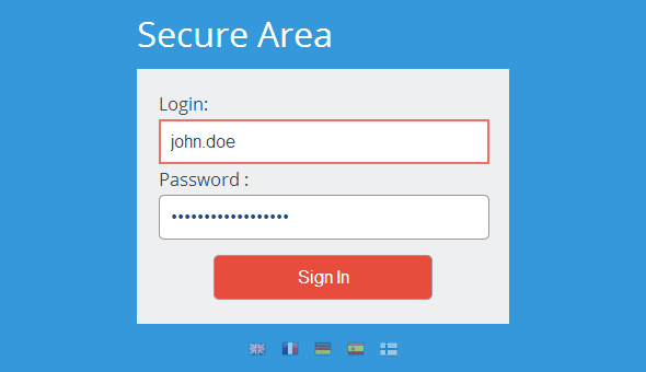 Secure Area john.doe. Tanda